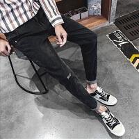 2018新款牛仔裤韩版小脚裤潮流九分裤男士修身黑色裤子小脚裤宽松