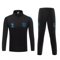 欧冠足球服套装 长袖足球服巴撒足球服训练服 秋冬季长袖足球服球衣吸汗透气