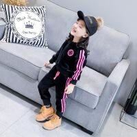 韩版童装18秋冬新款女童加绒长袖卫衣+长裤两件套洋气套装B4-T30