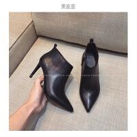 2018新款女鞋秋冬靴子加绒面尖头短靴细高跟踝靴磨砂英伦马丁女靴