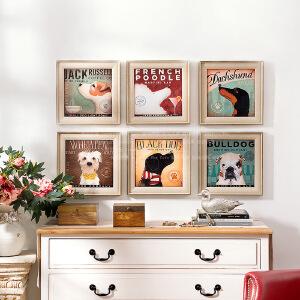 奇居良品 欧美式家居墙面动物装饰画挂画壁画客厅卧室名犬的巡礼