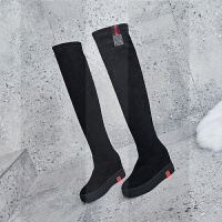过膝长靴女2018新款冬季高跟加绒内增高长筒靴弹力瘦腿高筒女靴子SN1837 黑色