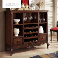 ZUCZUG美式乡村餐边柜收纳柜实木玄关柜酒柜欧式茶水柜碗柜橱柜储物柜子 褐色