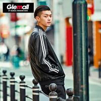 森马潮牌GLEMALL 男青年运动条纹PU皮质外套潮款复古棒球领夹克