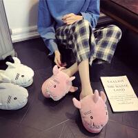 棉拖鞋女冬季情侣室内居家用男卡通厚底防滑保暖月子家居可爱