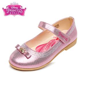 【清仓特惠】迪士尼Disney童鞋闪亮水钻单鞋时装鞋女孩公主鞋女童学生返校鞋舞蹈鞋 桃红(5-10岁可选) DF0144