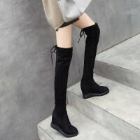 过膝靴女内增高长靴厚底长筒靴平底弹力靴2018秋冬新款高跟女靴子