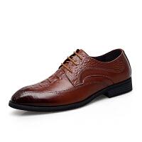 皮鞋子男士真皮内增高大码英伦正装商务西装透气休闲皮鞋软底男鞋