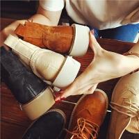 秋季真皮马丁靴女布洛克短靴英伦风平跟百搭女靴厚底机车靴