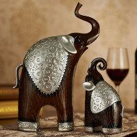 欧式客厅招财摆件奢华电视酒柜工艺品大象一对礼物家居装饰品摆设