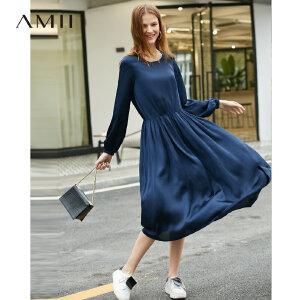 【1件5折到手价221】Amii极简法式海边度假仙女连衣裙2019春季新款U领宽松A字中长裙