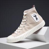 帆布鞋子男高帮休闲鞋2019新款韩版潮流帆布鞋学生复古板鞋男士高帮男鞋1021XP
