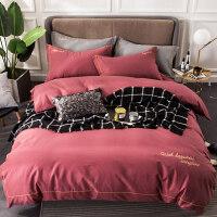 纯色刺绣全棉磨毛四件套加厚床单被套1.5/1.8m床上用品双人
