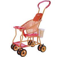 仿藤推车轻便宝宝儿童手推车八轮透气四季通用万向轮婴儿车 +篮子+枕头