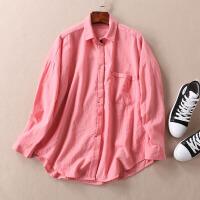 温柔深粉色纯色胖MM宽松长袖衬衫 燕尾式中长款单口袋上衣 WD3328