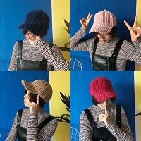 韩国港风秋冬纯色百搭街拍复古灯芯绒弯檐帽鸭舌帽棒球帽男女