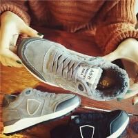 秋冬季新款真皮加厚运动鞋女低帮加绒跑步鞋平底板鞋舒适休闲女鞋