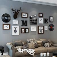 北欧照片墙相框墙客厅装饰连体相框挂墙组合现代简约相片墙带鹿头
