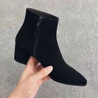 短靴女秋冬季2018新款高跟鞋韩版百搭黑色尖头裸靴女粗跟马丁靴潮