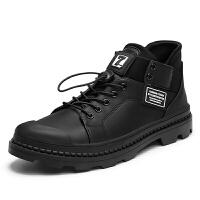 高帮皮鞋男鞋秋季透气嘻哈鞋子男潮鞋韩版潮流百搭白色马丁靴男