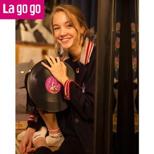 Lagogo/拉谷谷2017冬季新款直筒长袖中长款大衣