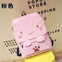 帆布双肩包女可爱猫咪刺绣日系原宿中学生书包休闲少女旅行背包 粉色