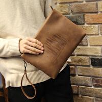 新款男士手包大容量手拿包信封包软皮休闲夹包韩版皮 咖啡色