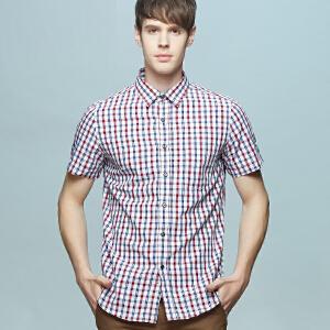 男士竹纤维短袖衬衫 冰爽红白小格