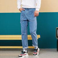 【1件5折到手价:99.5】美特斯邦威牛仔裤男2019秋季新款潮流舒适简洁宽松时尚男士牛仔裤