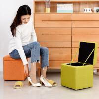 【限时7折】储物凳家用收纳凳换鞋矮凳子时尚客厅沙发凳创意布艺搁脚凳小凳子