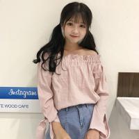 春装2018新款韩版木耳边系带格子衬衫女一字肩百搭显瘦上衣打底衫