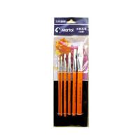 创意文具马利G1806加健水粉画笔套装6支套装 短杆羊尾平笔 羊毫毛水粉笔