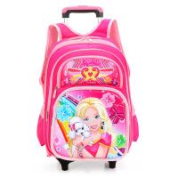 学生拉杆书包双肩背包1-6年级减负卡通书包闪光两轮便携行李包户外休闲大容量旅行包
