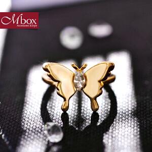 新年礼物Mbox戒指 日韩女款采用施华洛世奇元素水晶蝴蝶设计开口戒指 舞蝶