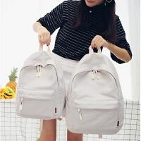 双肩包女纯色帆布包韩版潮学院风初高中学生书包旅行背包小清新