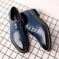 尖头皮鞋男正装鞋男季新款男鞋时尚多色商务皮鞋男士系带擦色真皮单鞋子男0045BBS