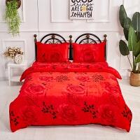 冬季珊瑚绒被套单件大红色双面法莱绒毛绒加厚保暖学生法兰绒被罩