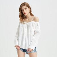 【1件3折到手价:147】MECITY女装夏季新款时尚仙女范一字肩长袖白衬衫
