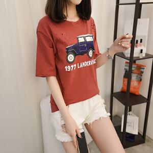 新款中袖女装上衣韩版百搭字母T恤女夏季节学生短袖宽松