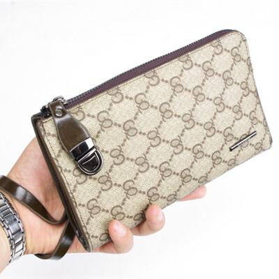 手包男欧美时尚手抓包男士钱包单拉链夹包格子韩版手包潮
