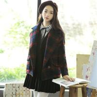 格子毛呢外套大衣女短款韩版学生冬天复古学院风衣服妮子宽松日系