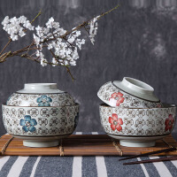 釉下彩陶瓷带盖泡面碗学生米饭碗家用餐具大碗面碗汤碗创意陶瓷碗