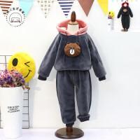 中小童韩国童装男童女童冬季可爱小熊加绒卫衣裤子2件套A-T48