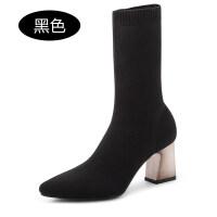 秋冬季新款女鞋短靴弹力袜靴高跟粗跟女瘦瘦靴尖头靴子lkf 【黑色】