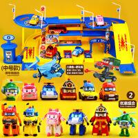大号变形版新珀利警车儿童停车场套装变型机器人波利警长玩具男孩