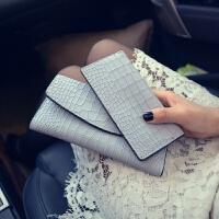 皮钱包女士长款三折钱包2017新款鳄鱼纹韩版时尚钱包多卡位手包