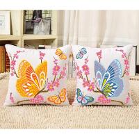 印花绣十字绣抱枕卡通情侣动物一对蝴蝶客厅沙发抱枕汽车靠垫 含枕芯