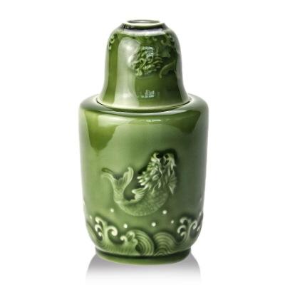 乾唐轩活瓷酒器鱼跃龙门温酒器烫酒家用陶瓷送客户送父亲