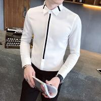 2018春季薄款条纹衬衫男长袖修身韩版潮流发型师帅气休闲衬衣