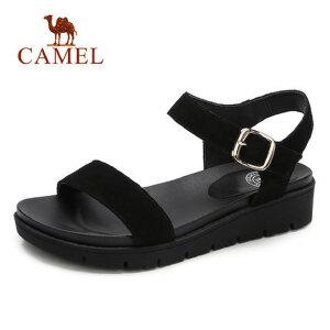 骆驼女鞋2018夏季新款坡跟平底凉鞋女简约原宿风ulzzang罗马鞋子